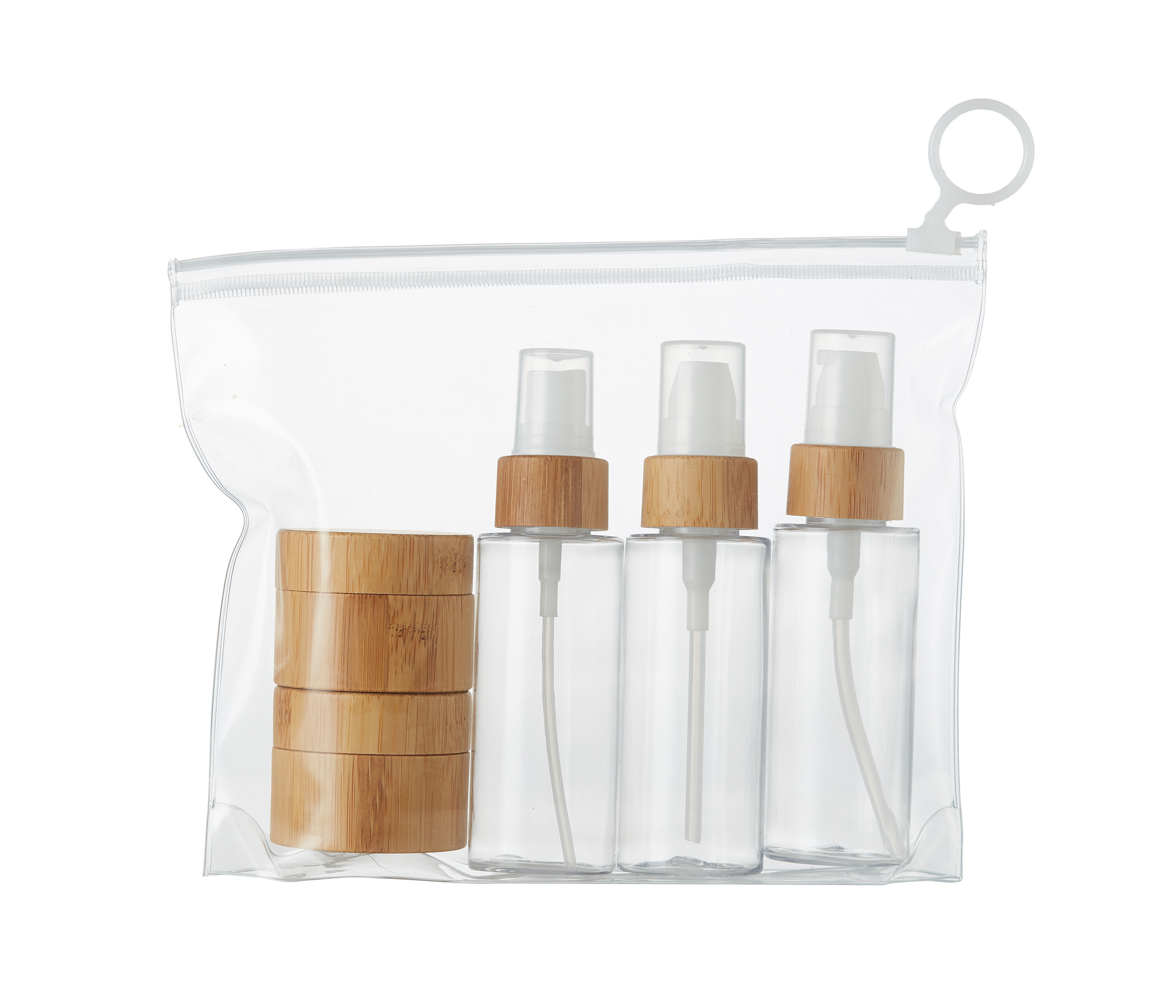 PET bamboo spray bottles packaging travel sets cosmetic packaging travel kit