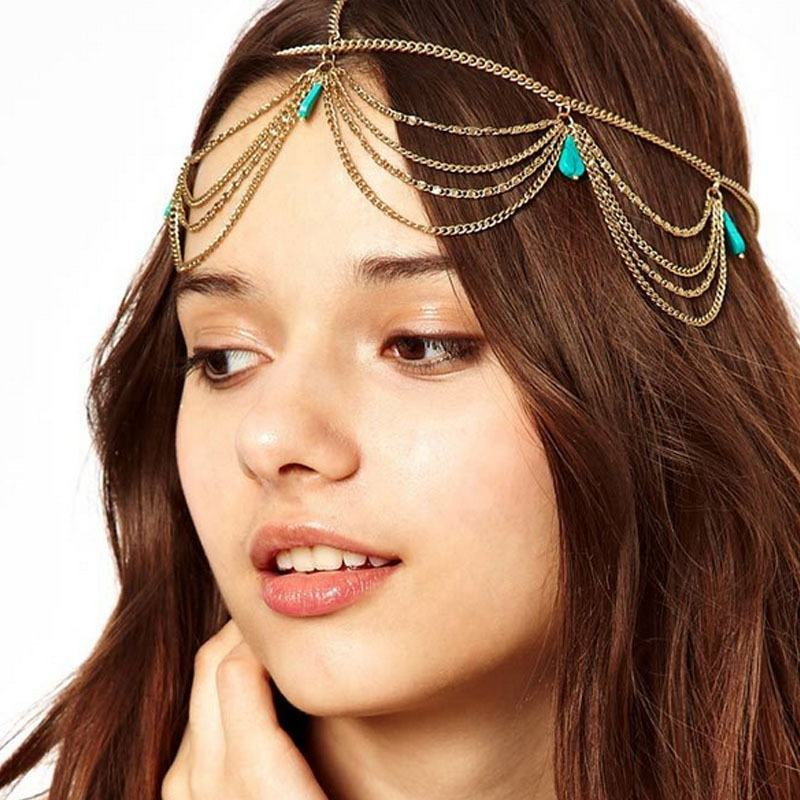 Genya New Arrived Fashion Crystal Rhinestone Chain BohemianTurquoise Fringed Hair with Head Chain Jewellery Hair Accessories