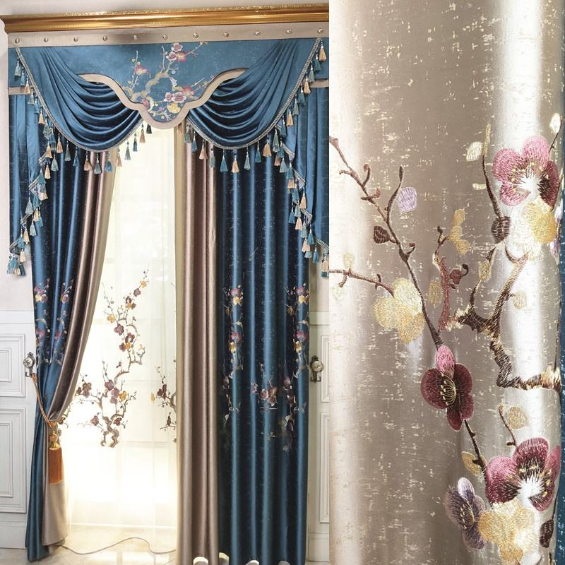 embroidery flower design curtain with valance designs