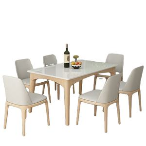 Nordic dining table marble solid wood modern simple dining table coffee table