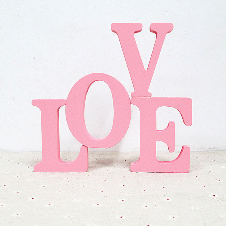 DIY LOVE Shaped Alphabet Word Home Decoration Wood Art and Craft Free Standing MDF 3D Unfinished Wood Letters