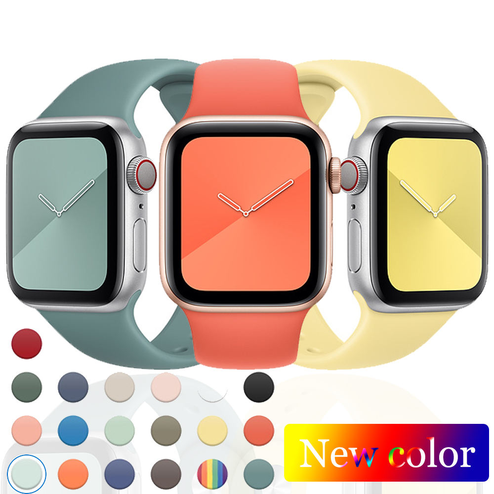 66 Colors Silicone IWatch Band Engraving Series se 6 5 4 3 2 Watch Strap 38mm 40mm 42mm 44mm Sport Style Apple Watch Band