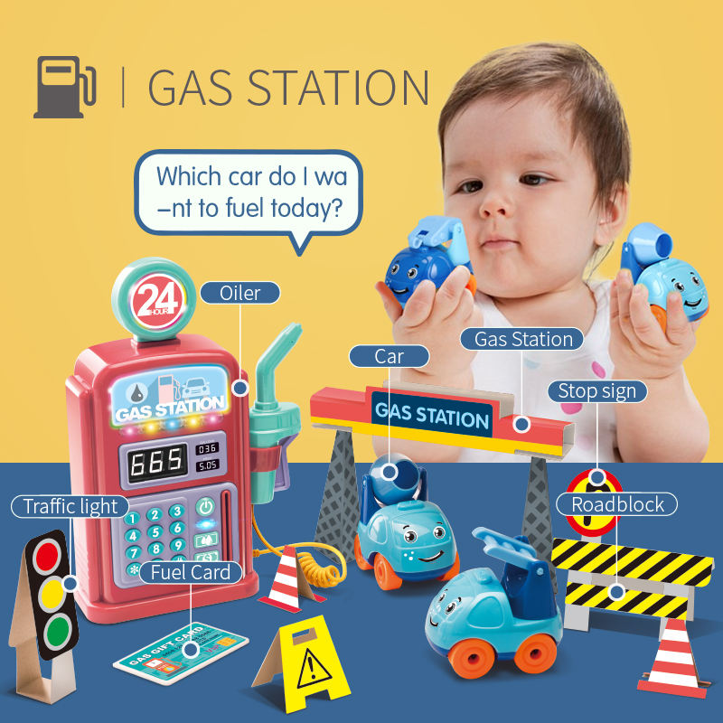 Children play house girl pretend to play house toy car refueling simulation child talking tanker toy Christmas gift