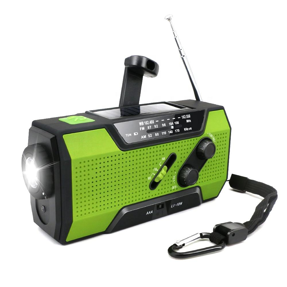 3 in 1 emergency crank radio chargeable with solar torch & cell phone charger