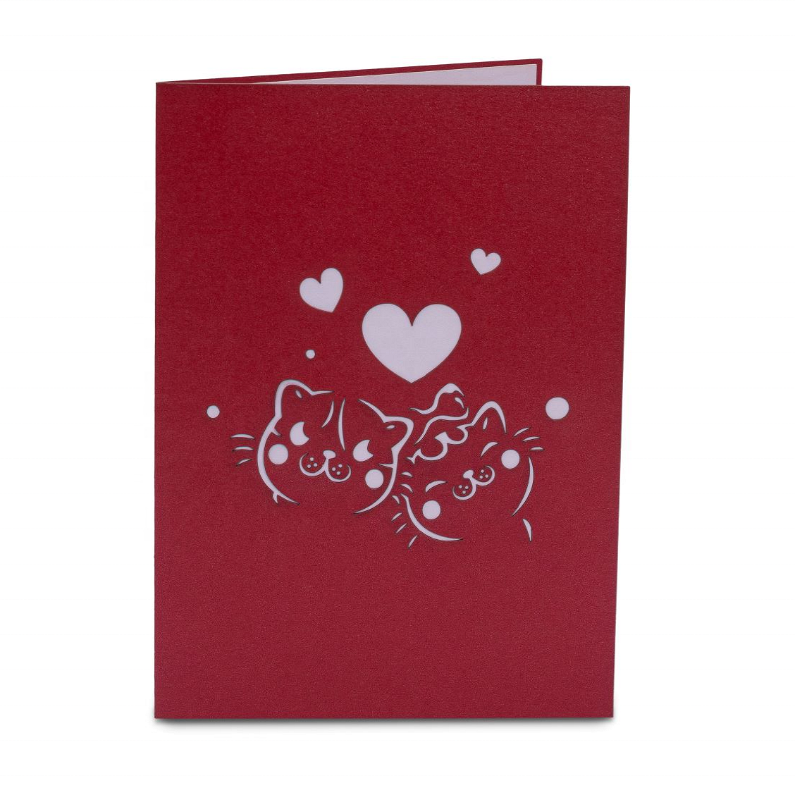 I Love You Valentine Day Cards - Custom Printing Funny Handmade 3D Greeting Cards For Love (Animal: Red/Pink)