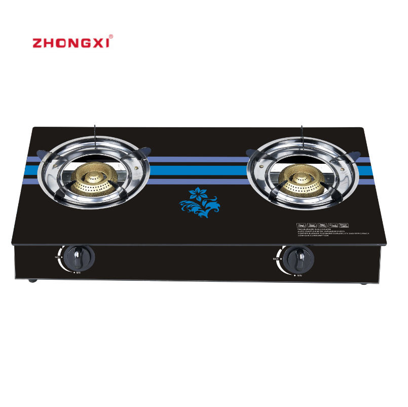 2 burner Cooktop Hob Enamel Home Appliance Glass Top Gmark Gas Stove