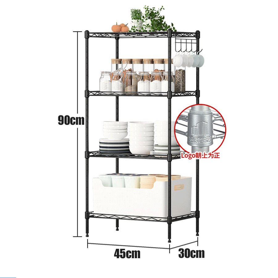 Chrome Rust โลหะ Storage Wire Rack