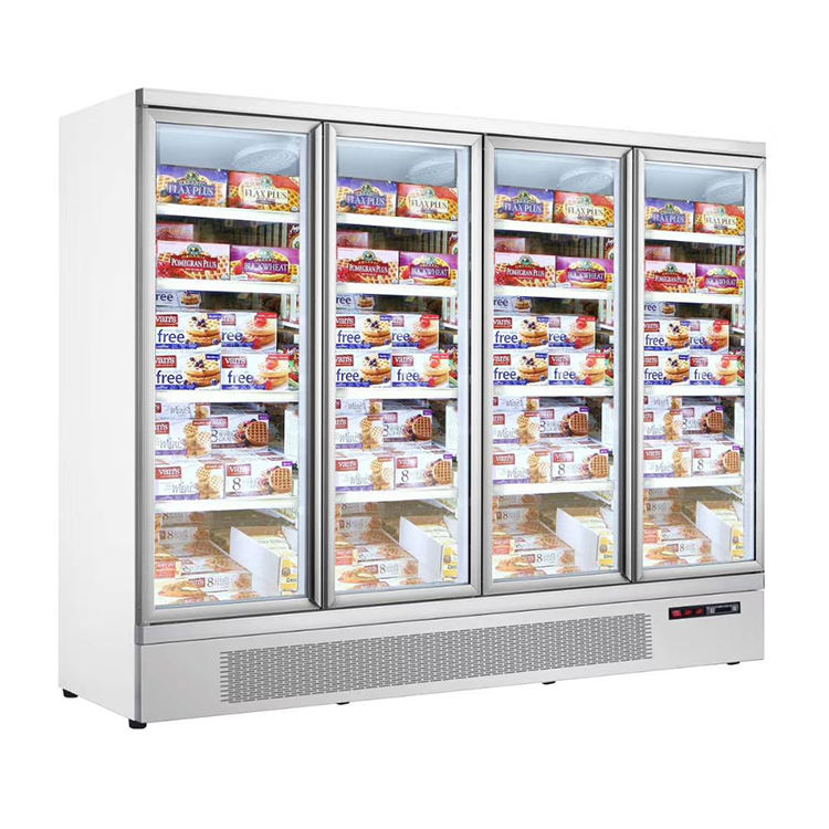 3 Transparent Glass Doors Refrigeration Equipment Upright Glass Door Supermarket Multideck Frozen Food Display Freezer