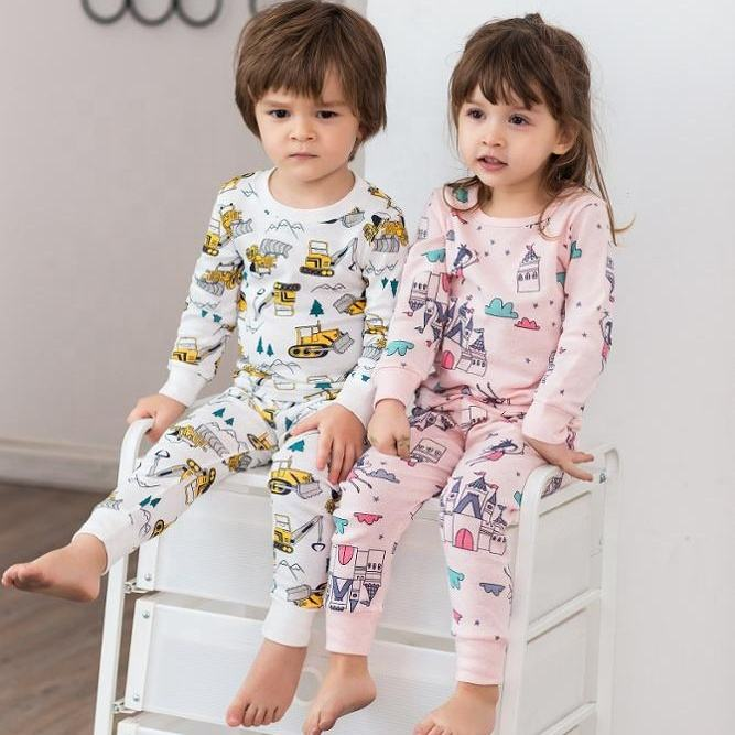 100% Cotton Christmas Gift Cartoon Girls Kids Pajamas Sets 2019 Hotsale Custom Spring Autumn Kids Cotton Sleepwear