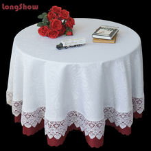 LongShow New Design Crochet Lace Jacquard Fabric Tablecloth Table Skirt  for Home