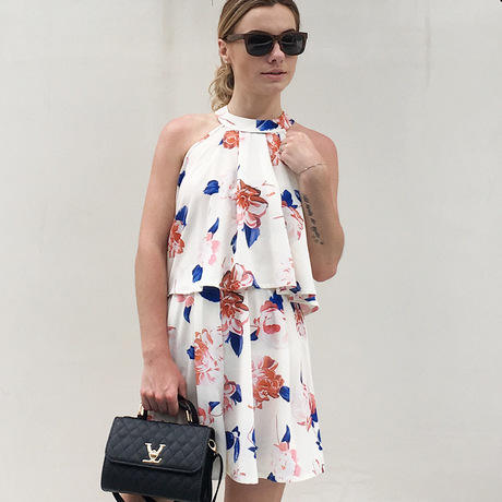 Summer sexy fashion hanging neck strapless sleeveless printed chiffon hakama women suit