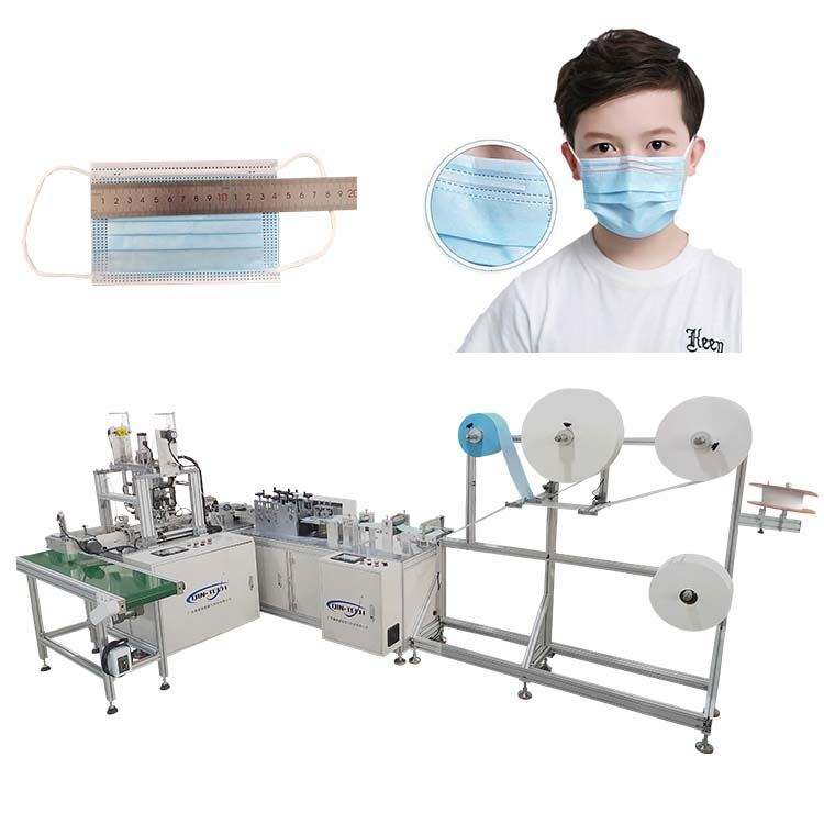 Qintech 1+1 Full-Auto Disposbale Flat Face Mask Machine with Visual Inspection + Packaging Production Line