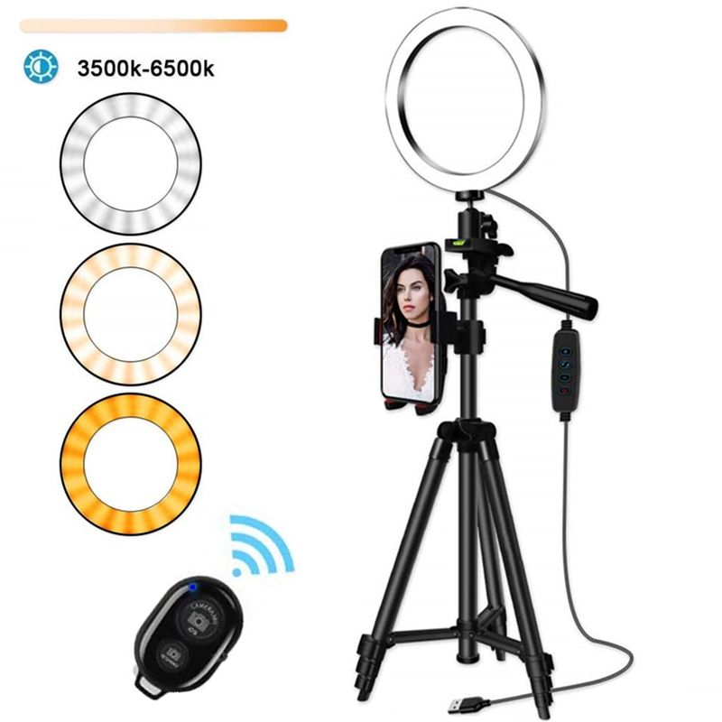 10 inch LED Ring Light with 1.2M Tripod Stand Cell Phone Holder for Live Stream/Makeup/YouTube Video, Dimmable Beauty Ringlight