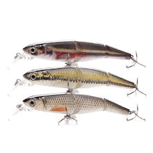 Factory supply 105mm 16g realistic abs hard plastic swimbait 3 segmented metal multi joint fishing lure
