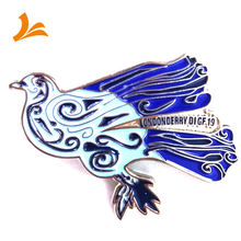 Hot selling high quality soft enamel lapel pin wholesale cast iron bird with iron metal