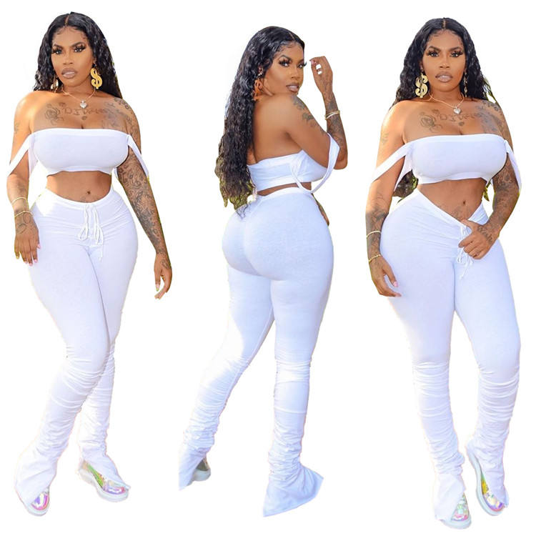 New Fashion Women Casual Sleeveless Vest Crop Tie Dye Gradient Pleated Stacked Leggings 2 Pieces Set Tracksuit