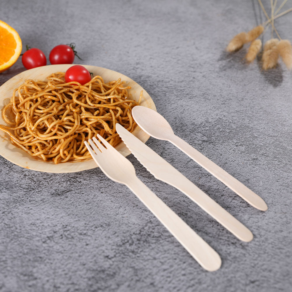 Wooden Forks spoons knives Eco-friendy Birch Wood Cutlery for Party