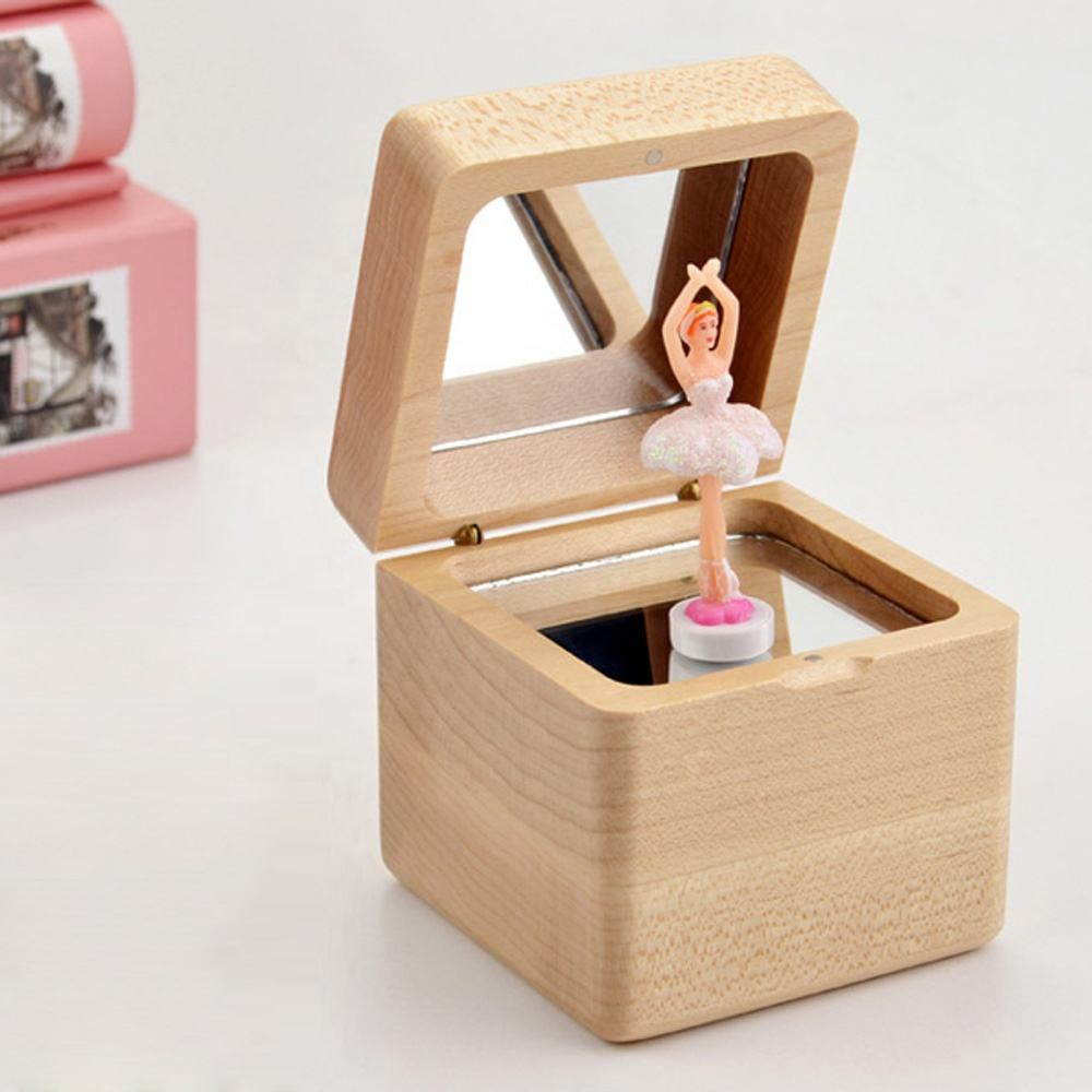 Sinzyo Romantic Dance Ballerina Gifts Wood Music Box with Mirror Solid wood