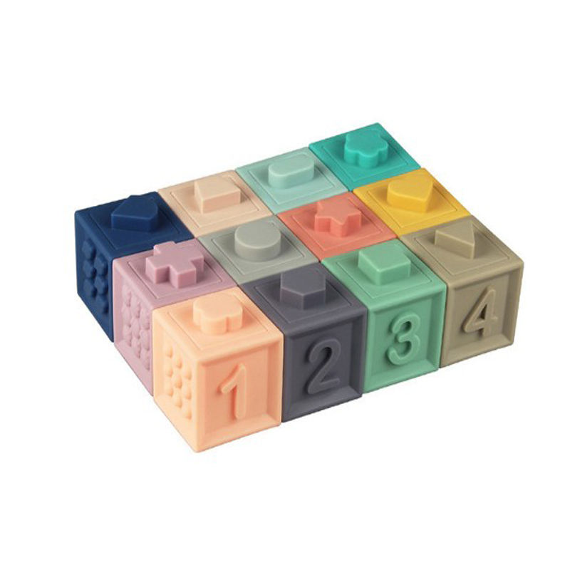 Cheap Silicone Set Food Grade Grasp Bricks Educational Toy Baby Rubber Soft Building Blocks