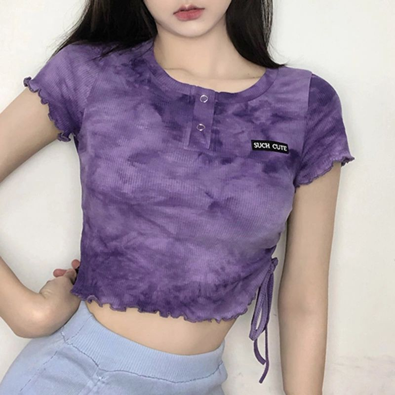 Summer Short Sleeve Ripped Girls Sexy Crop Top T Shirts