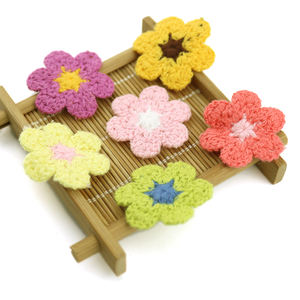 Gift idea 3D crafts crocheted flower applique patches decorative hat accessories sewing bows