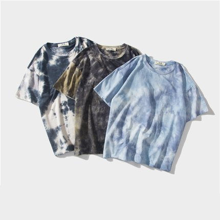 In stock tie dye t shirt short sleeve cotton t shirt for men