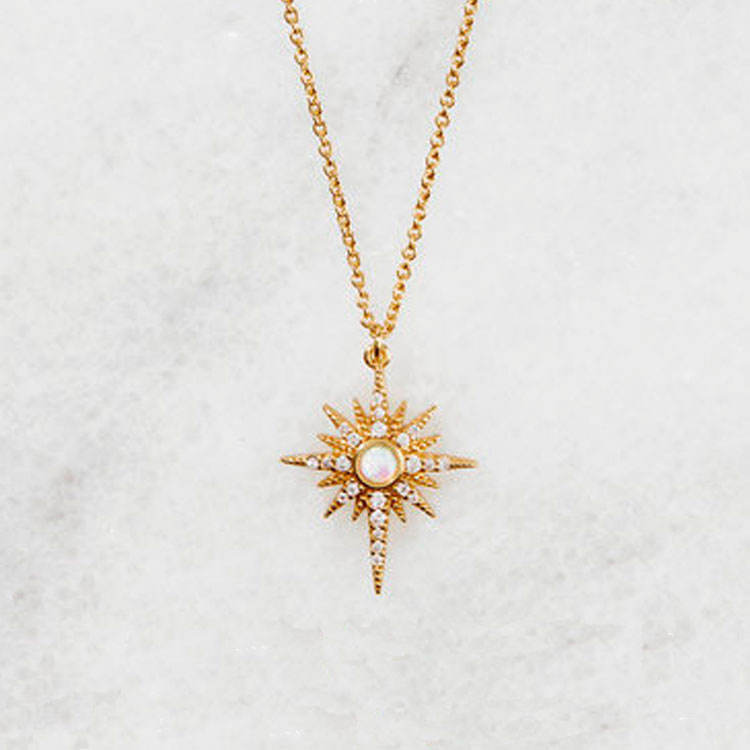Opal Gold Plated Starburst Pendant Necklace Jewelry in 925 Sterling Silver