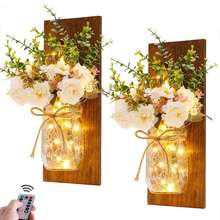 Home Party Decor Farmhouse Wood Hanging Mason Jar Wall Sconce LED String Lights with Hydrangea