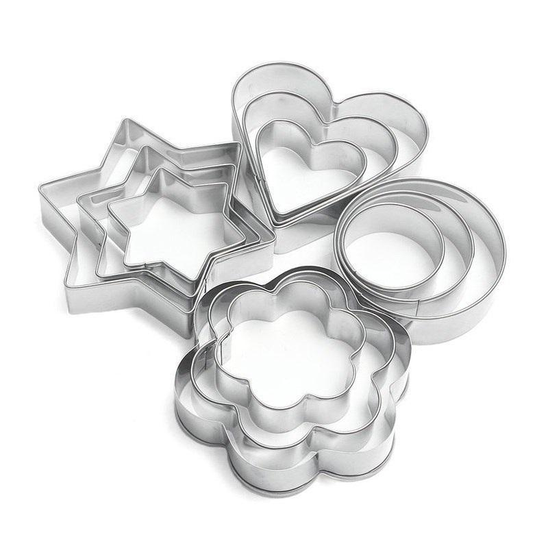 3PCS Set Round Flower Star Heart Shape Stainless Steel Cookie Cutter Set