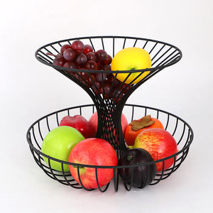 New Arrival 2-Tier Fruit Basket Kitchen Organization Best Sale Black Metal Iron Wire Fruit Vegetable Storage Baskets For Kitchen