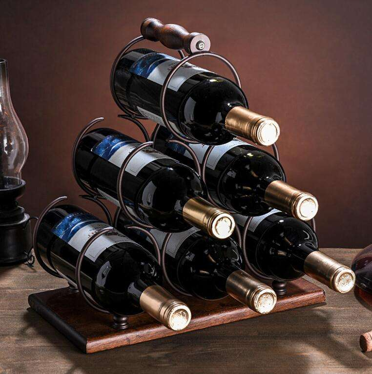 new customized 6 bottles metal wooden wine storage rack