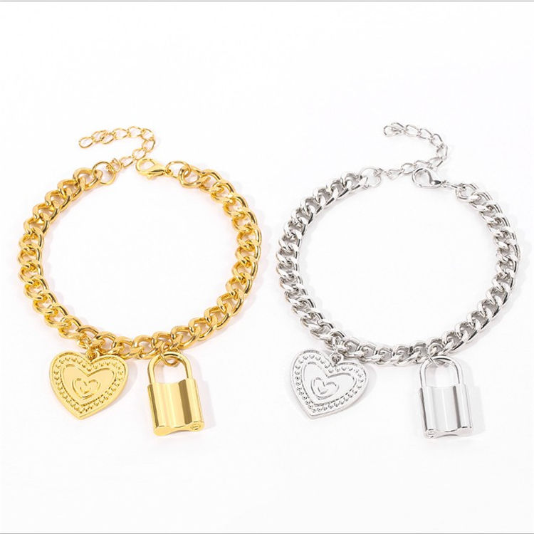 New hot sale love lock bracelet trend personality men's bracelet electroplating alloy gold and silver bracelet