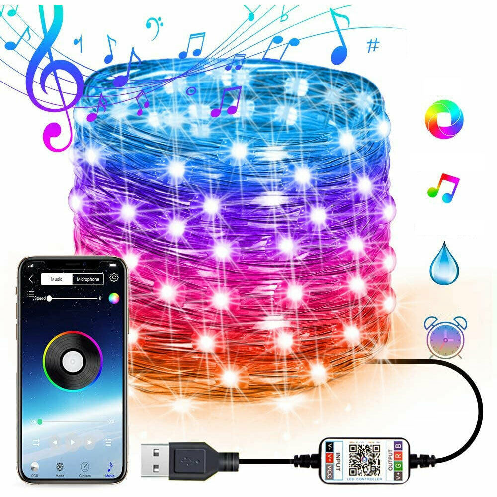 2M 5M 10M 12M 15M 20M RGB USB 2020 Smart LED Christmas APP Control String Lighting Wholesale Custom LED String Lights Outdoor CE