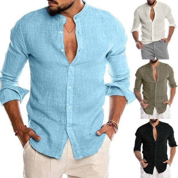 Men's Cotton Linen Shirt Loose Tops Long Sleeve Tee Casual Shirt Men Shirt Blouse Social Slim Men's Clothing