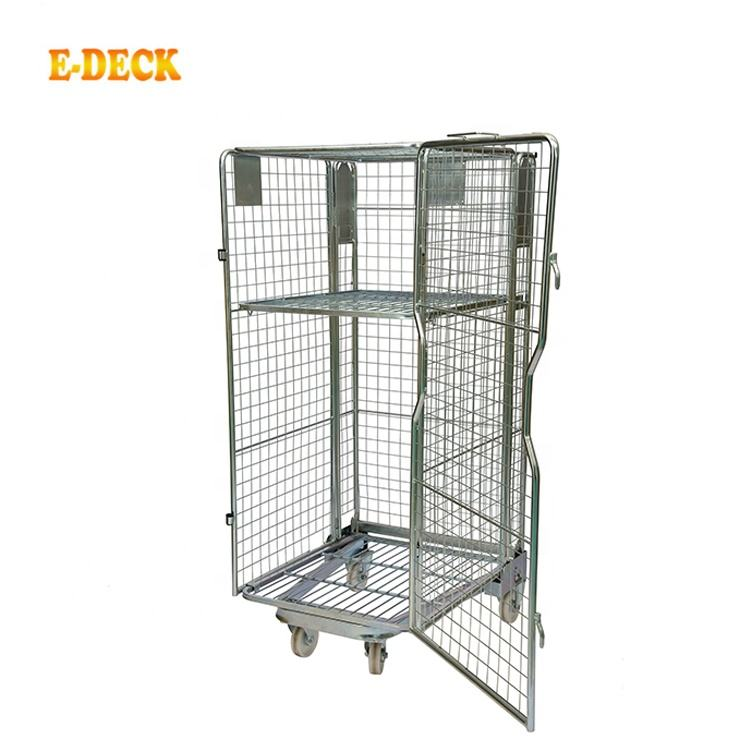4 sides foldable cargo storage euro steel warehouse demountable insulated nesting large wire mesh roll container