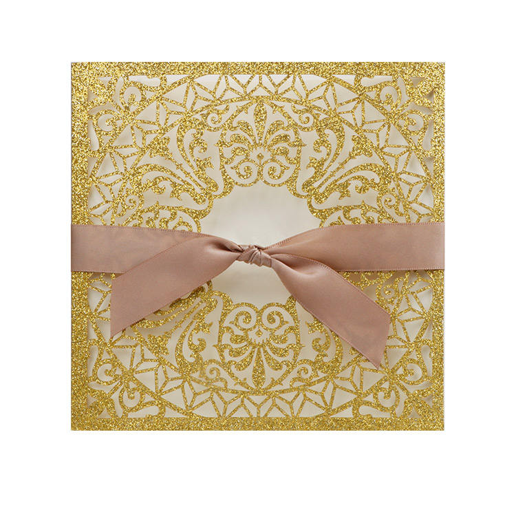 Gold Glitter Islam Traditional Design Formal Wedding Invitation Suite with Envelope paper greeting card