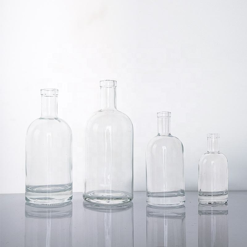 Transparent Thick Bottom Personalized Empty 500ml 1000ml Glass Vodka Bottle 750ml for Liquor with Stopper