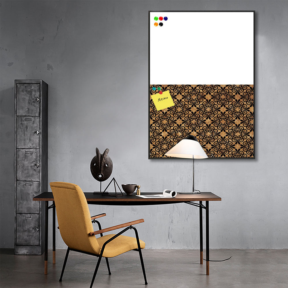 Cork Board White Board Hot Sale Fine Flora Pattern Black Art Wood Veneer Cork Board And White Board Memo Board Wall Art