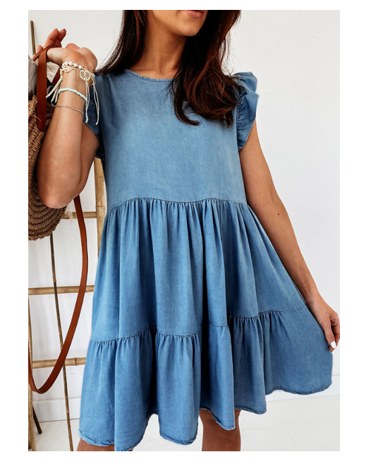 Fashionable Wholesale 2021 Summer Casual Ruffle Dress Loose Ladies Cake Denim Dress Sweet Skirt