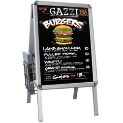A shape aluminium poster frame with black board for writing and for displaying posters