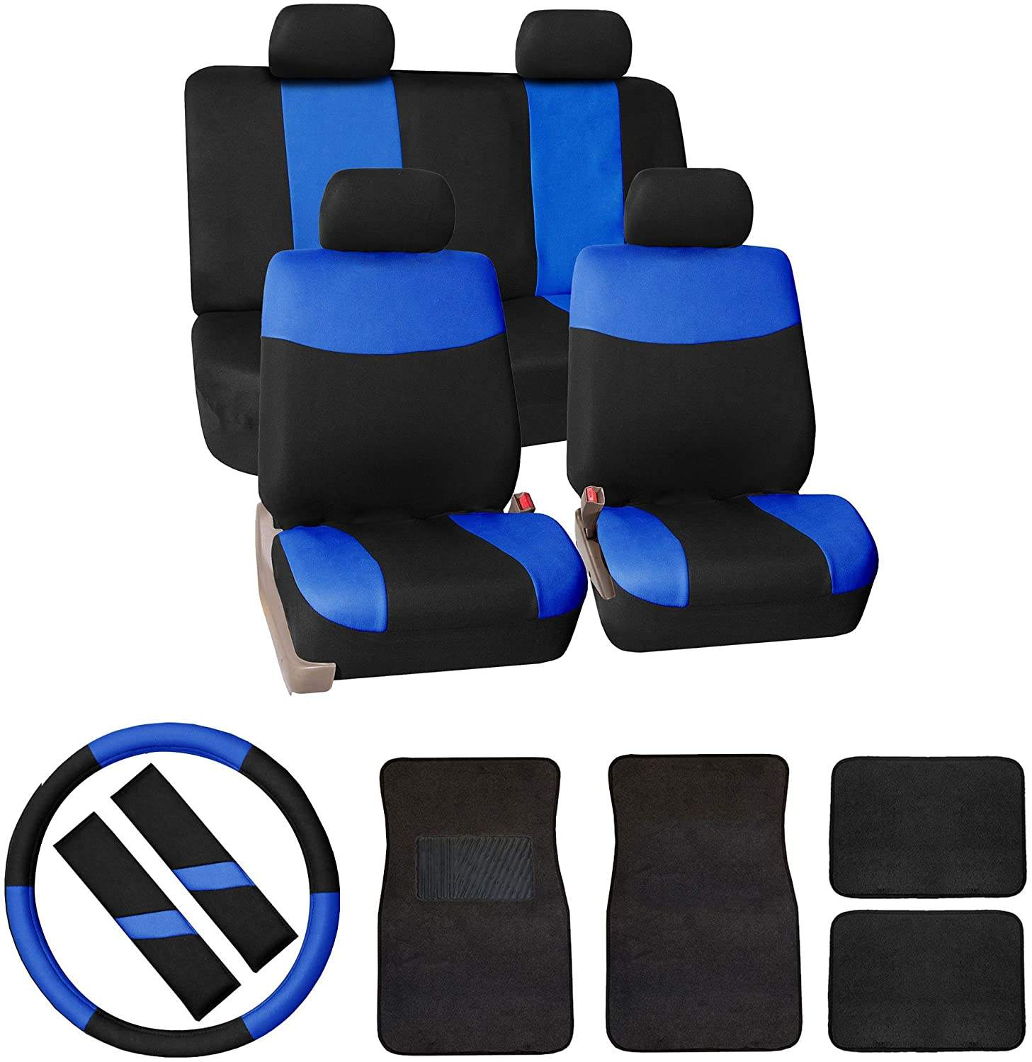 Modern Flat Cloth Car Seat Covers Combo Set Carpet Floor Mats, Steering Wheel Cover, Seat Belt Pads Blue/Black