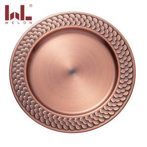 Wholesale luxury dinnerware round multi-colored stainless steel wedding charger plates