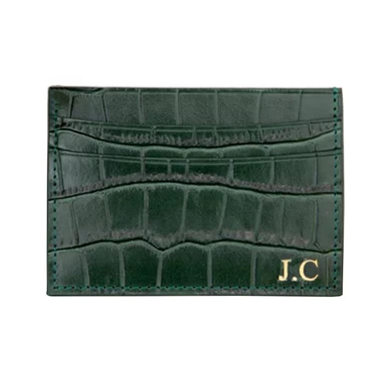 Multi-card slot slim crocodile custom name PU genuine leather business credit id card holder