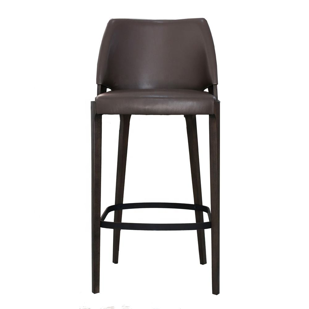 Modern bar furniture wooden leather wrapped bar stools high quality custom solid wood legs leather seat bar high chairs