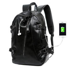 2020 New Arrival Large Capacity Man Fashion PU Leather Laptop Backpack for Travel School Business