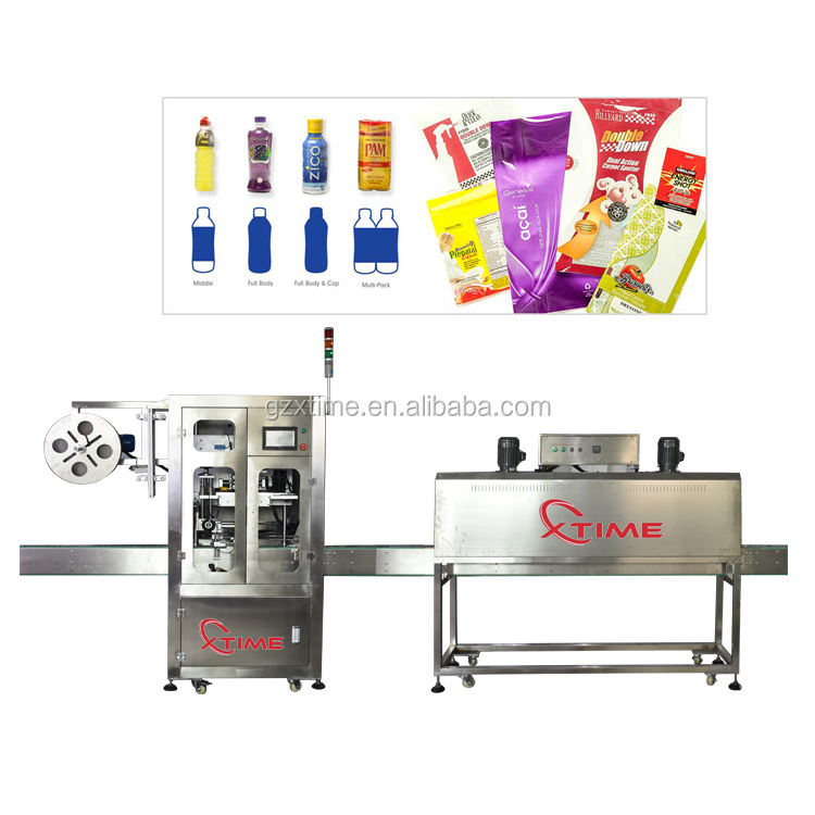 Automatic heating bottle shrink sleeve Labeling Machine /Shrink sleeve applicator with steam tunnel