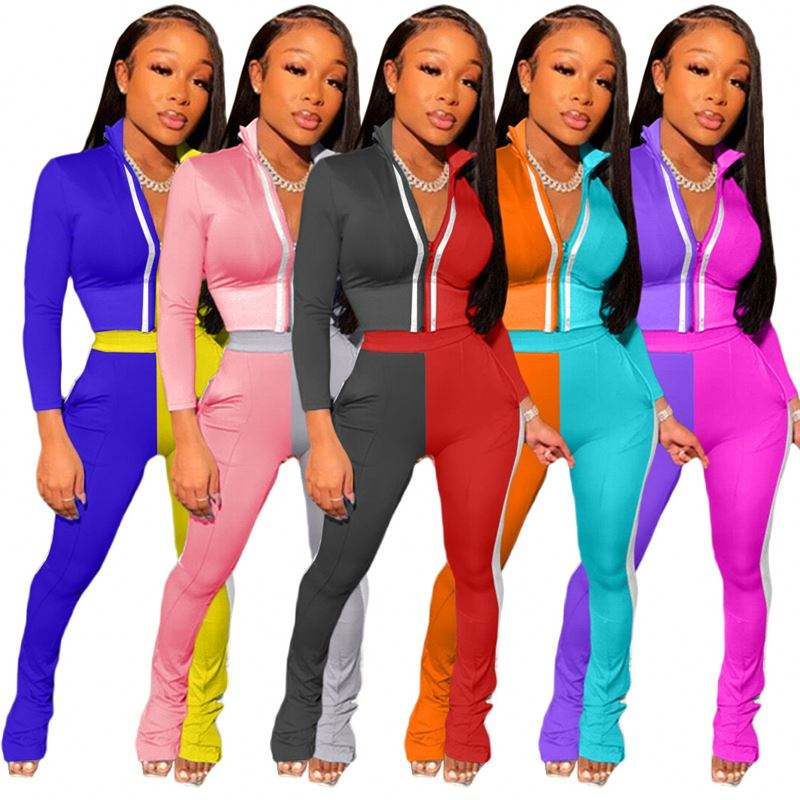 Reflective Striped Patchwork Fitness Tracksuit Women 2 Piece Set Casual Outfit Long Sleeve Zipper Crop Top + Pants Suit
