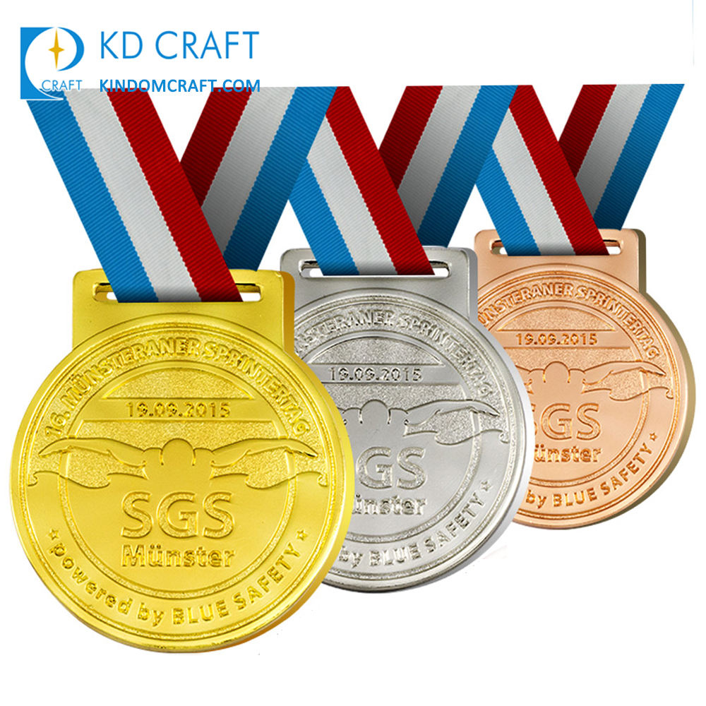 Free design bulk cheap custom metal embossed 3D gold silver copper plated winner award swimming sports medals for kids