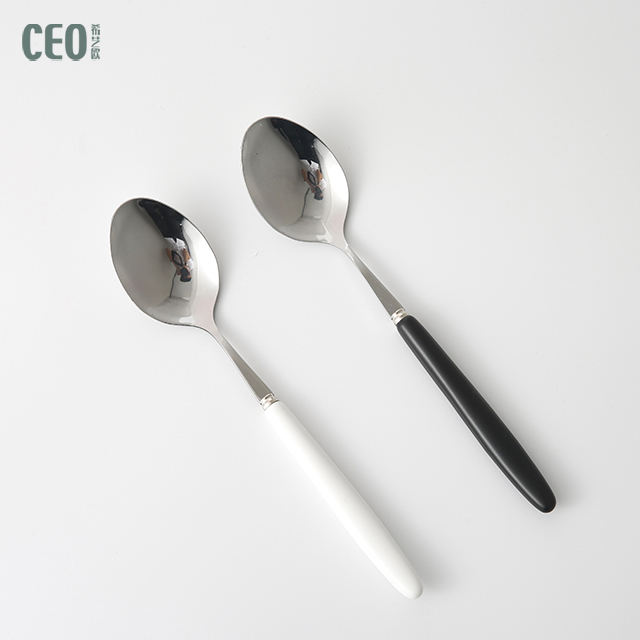 Promotional Kitchen Tableware Stainless Steel Spoon Plastic Handle Cutlery