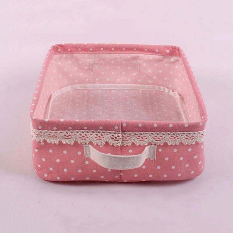 Multi-function Foldable Solid Washable Cloth Storage Box For Cosmetic Stationary Perfume Make-up Organizer with Handle
